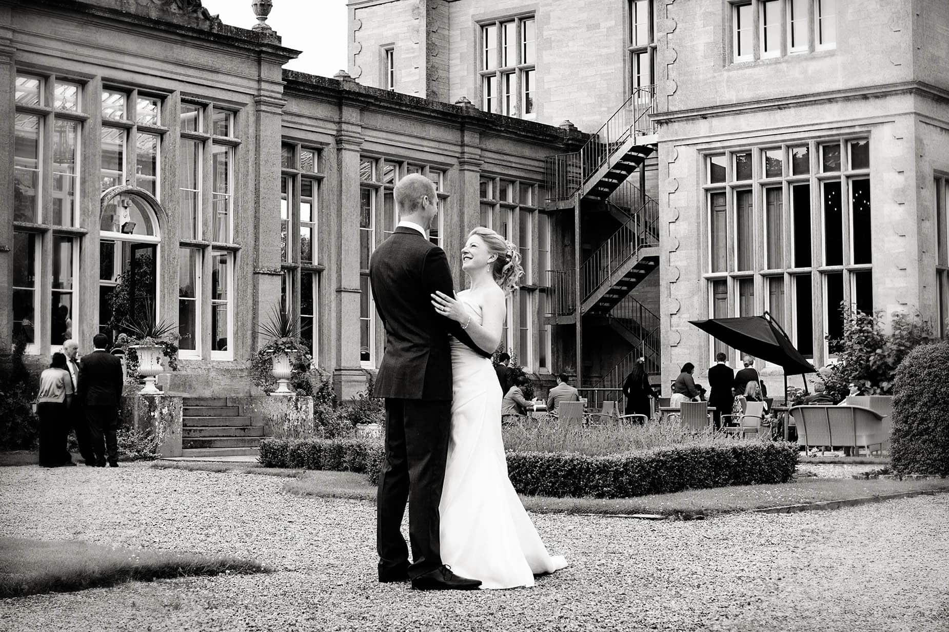 bride and groom at stoke rochford hall east midlands wedding