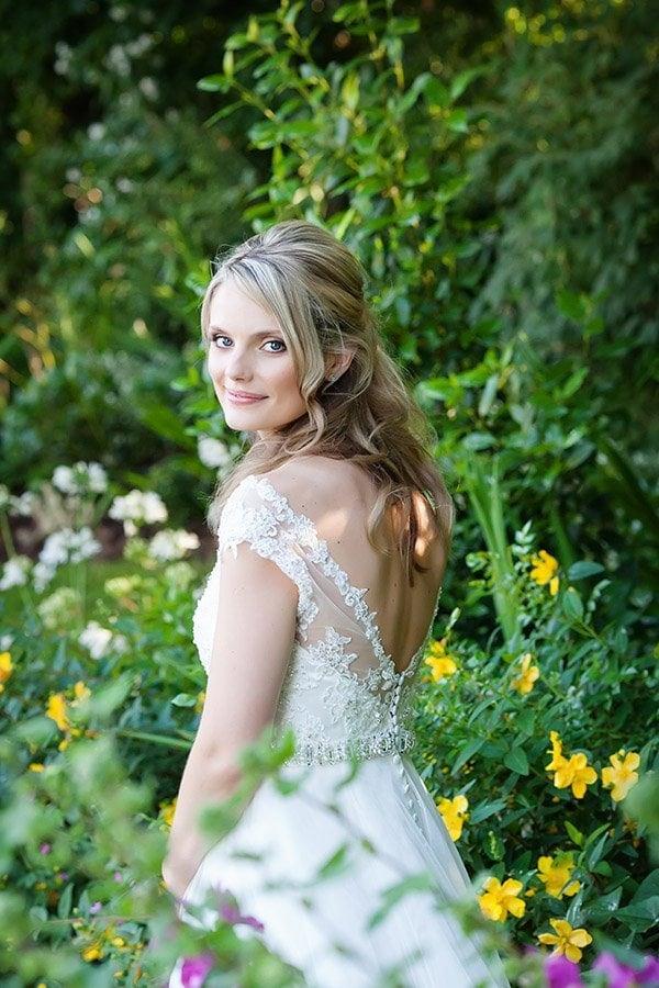 natural bride in summer gardens in Nottingham