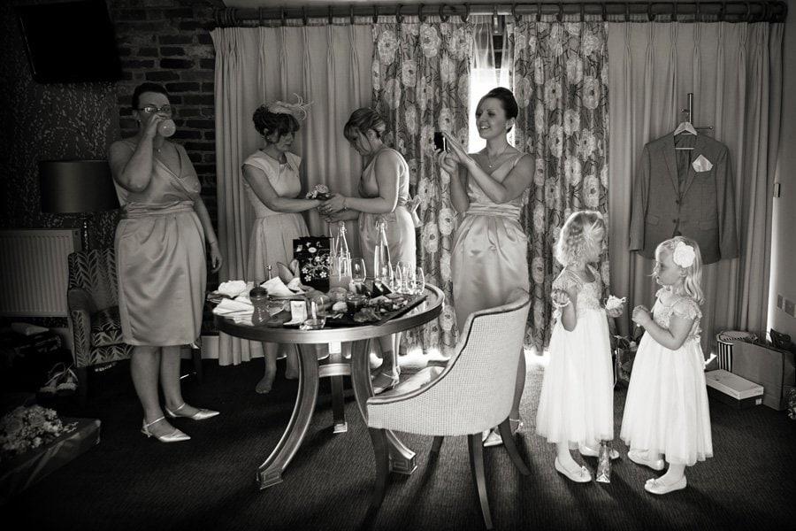 bridal party getting ready at Mythe Barn wedding