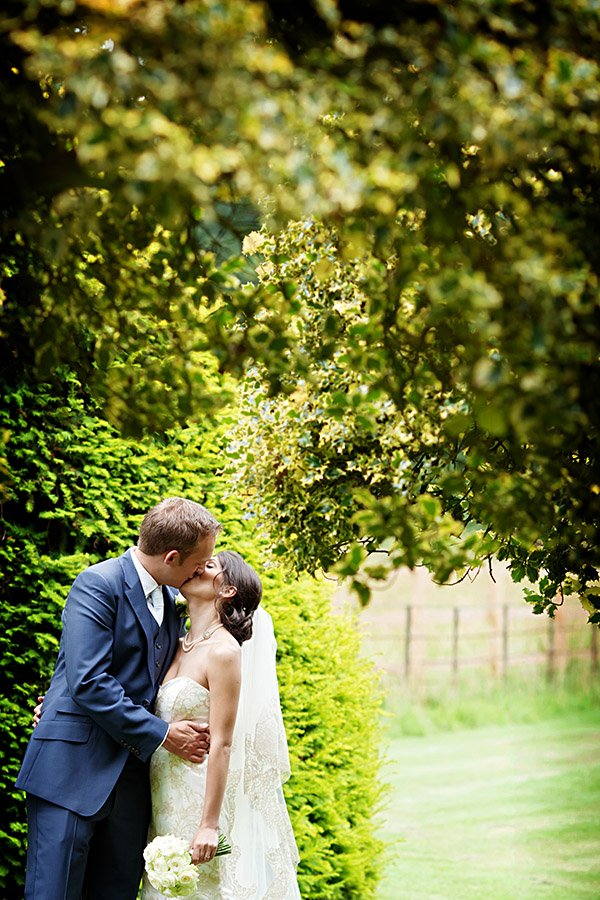 bride and groom kissing at nottinghamshire wedding