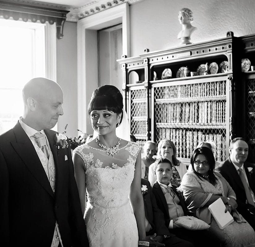 bride and groom at prestwold hall