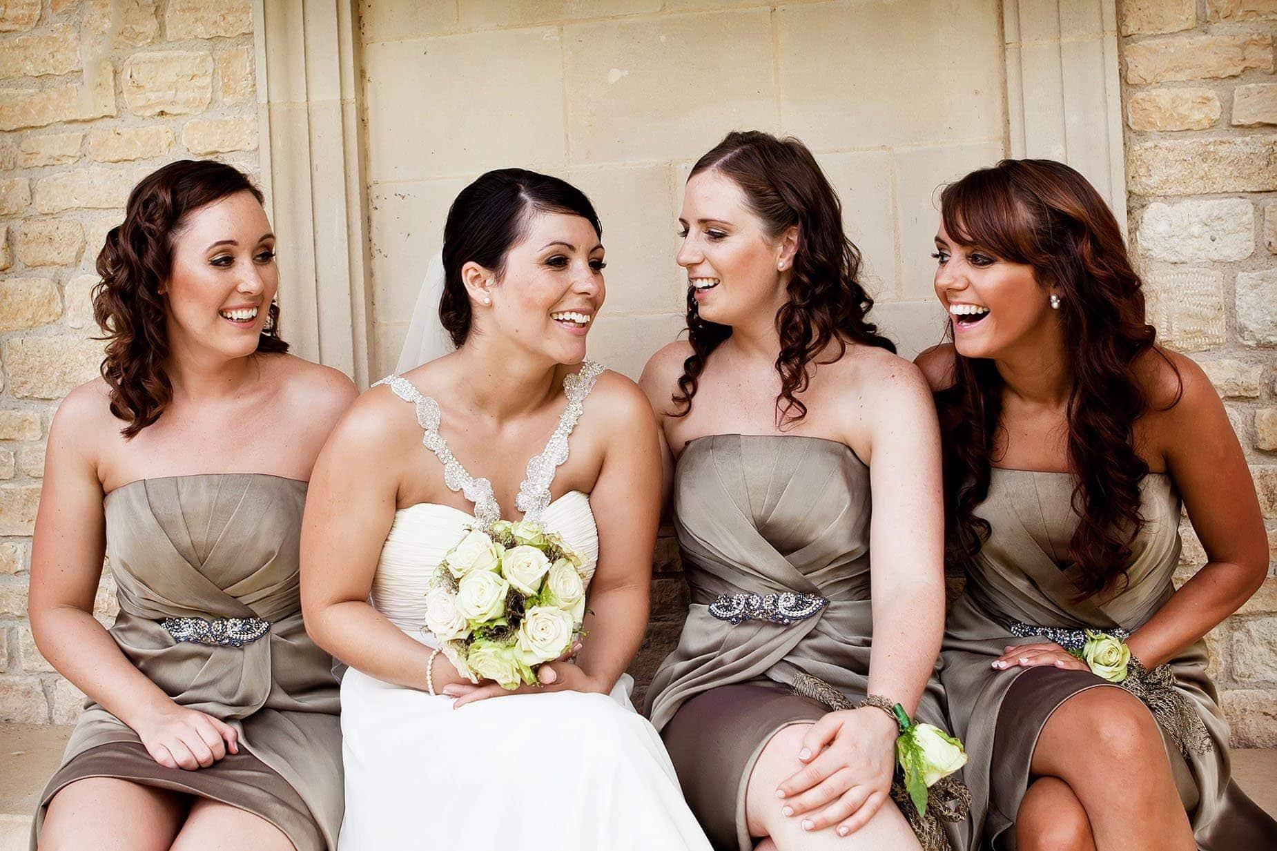 bridesmaids at hambleton hall natural wedding photography