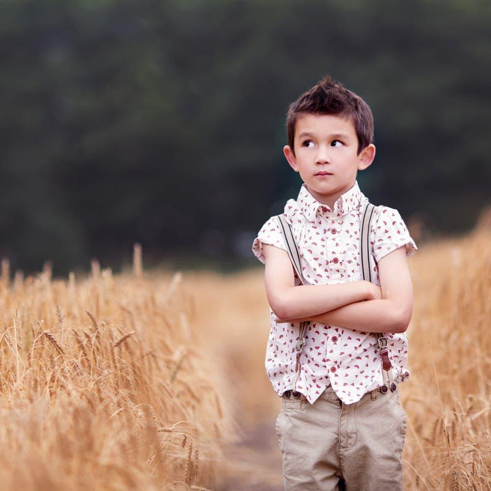 portrait of boy in cornfield nottingham photographer