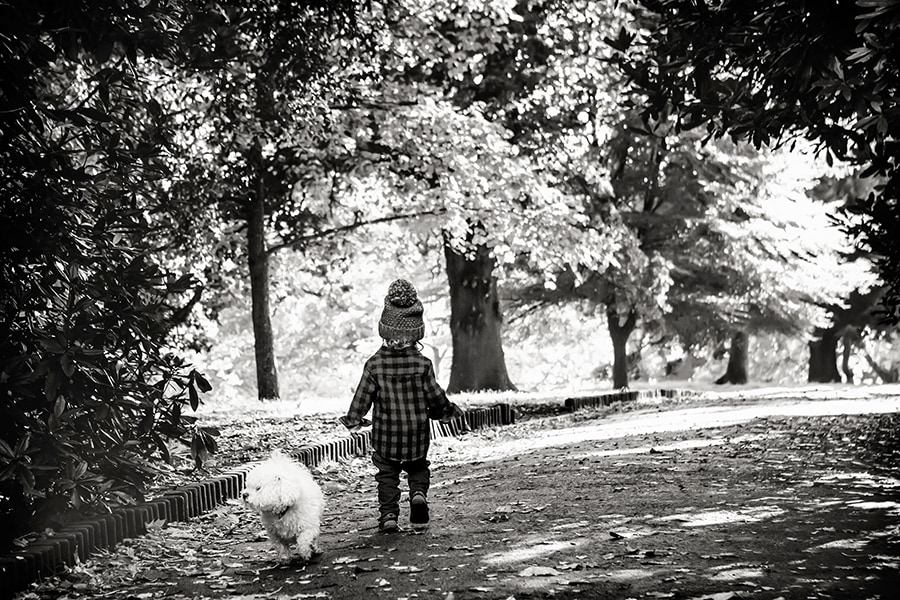 boy and dad walking in opposite directions in Nottingham park family photography
