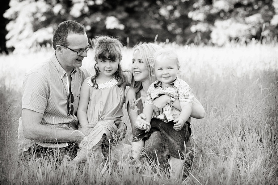 family photography nottingham family of four in long grass
