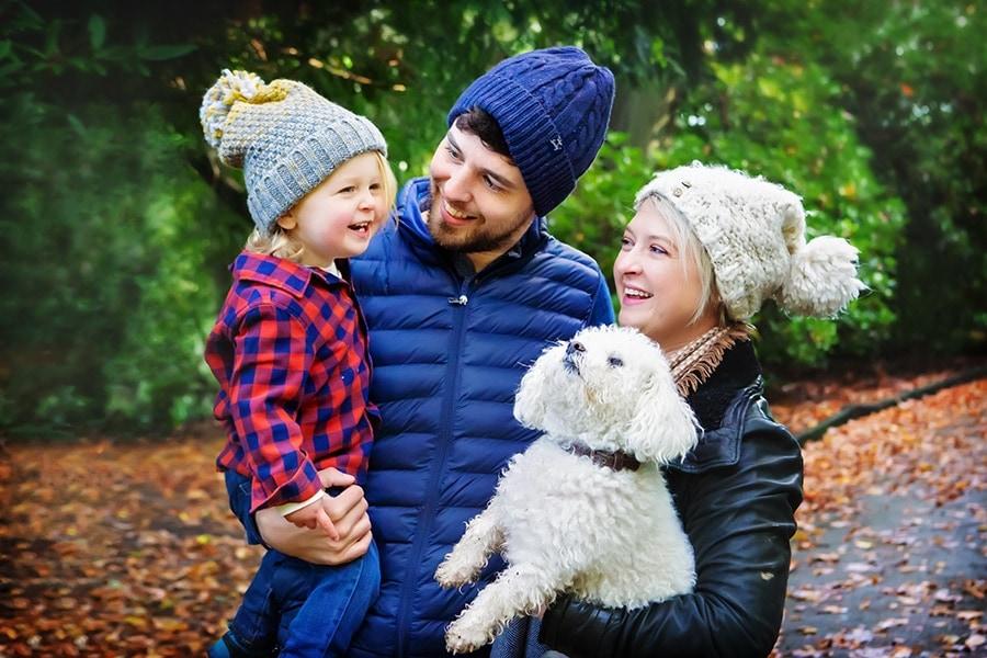 family photography nottingham autumn photo shoot with boy and dog